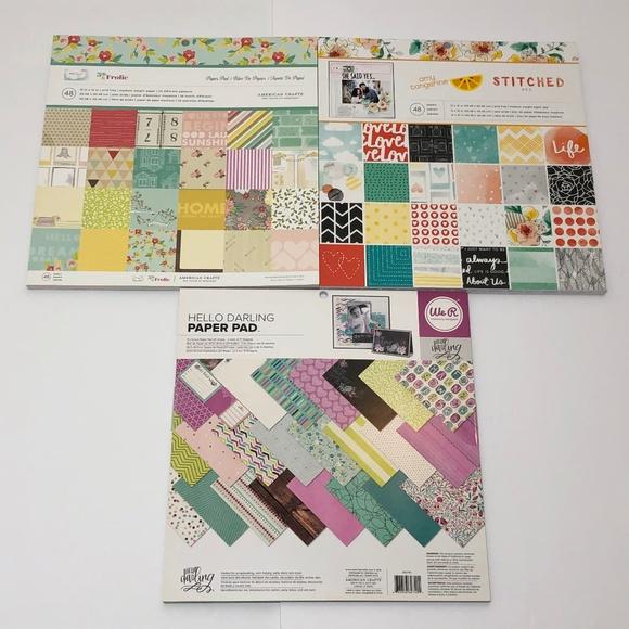 Lot 3 American Crafts 12x12 Scrapbook Paper Pads